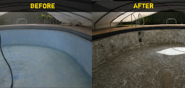 Swimming Pool Soda Blasting